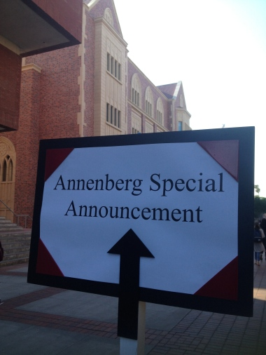 """2/25/15 Annenberg has a """"Special Announcement"""". Who knew it would be this big?"""