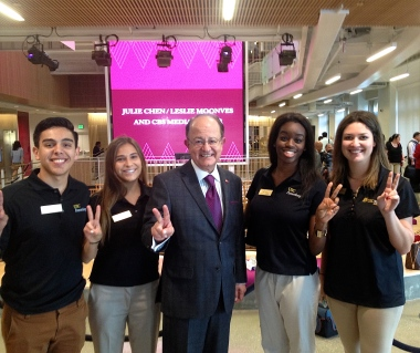 With USC President C.L. Max Nikias and fellow Annenberg Admissions Ambassadors